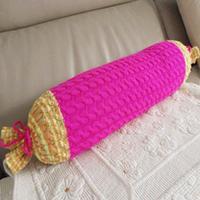 长条抱枕穿新衣 棒针长条糖果抱枕套