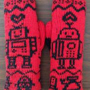 棒针织双面提花机器人手套