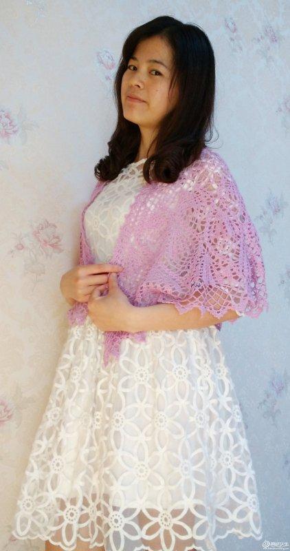 粉紫佳人 羊绒钩针编织蕾丝披肩