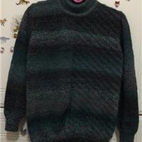 棒针编织段染男士圆领套头毛衣