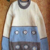 心心相映 棒针编织儿童配色套头毛衣