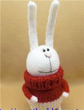 棒针织穿红毛衣的长耳兔玩偶玩具教程