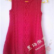 红菱 像棒针的钩针麻花女童复古背心裙