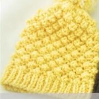 棒针圈织菠萝花绒球帽