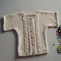 婴幼儿棒针粗针织全棉小开衫
