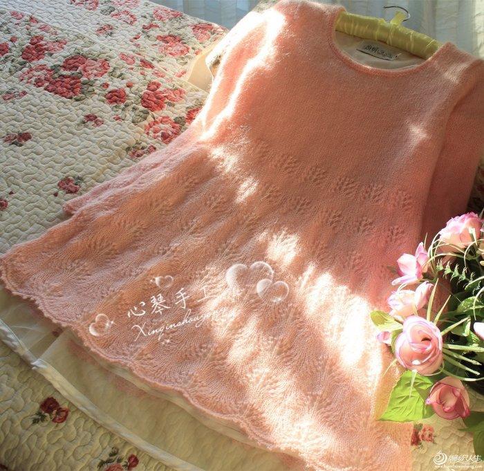 粉系手编羊毛毛线裙