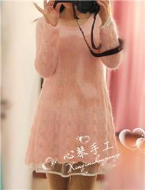 粉雪 粉嫩圆领长袖羊毛手编连衣裙