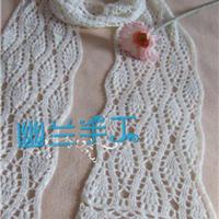 雪萝 白色柔美钩针菠萝花围巾