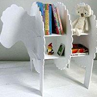 旧纸板木板制作小羊书架