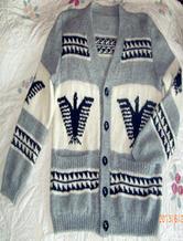 展现男人魅力 欧式雄鹰提花图案棒针开衫毛衣