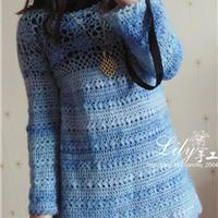 煦风 时尚简约马海钩针编织长袖裙衣