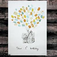 指纹画出会飞的小房子