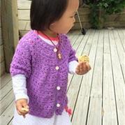从上往下钩宝宝中袖小开衫