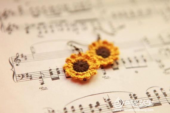 暖暖的向日葵编织 向日葵元素的钩针编织
