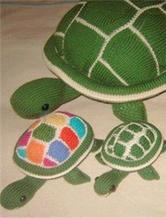 棒针织彩色乌龟 大中小三种型号的织法教程