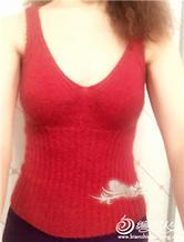 棒针编织贴身貂绒胸罩背心