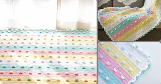 小清新钩针软糖婴儿盖毯