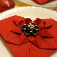 折叠婚礼用浪漫心形餐巾纸