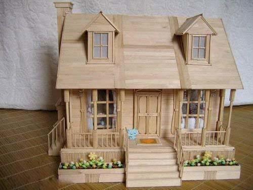 雪糕棍制作的精致小木屋