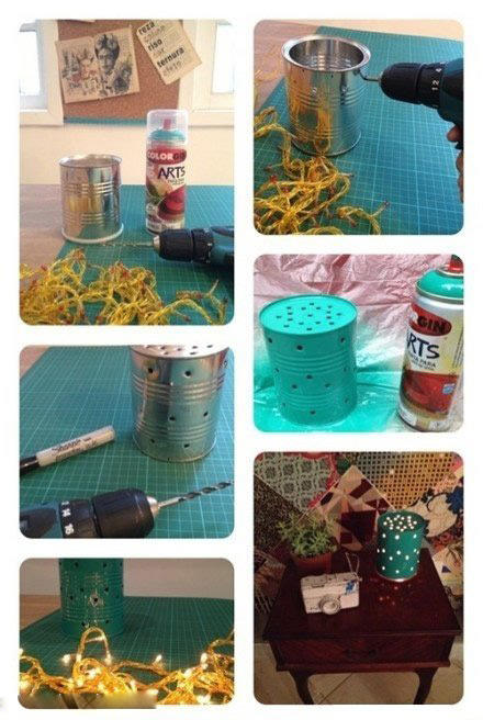 奶粉罐铁罐废物利用手工制作小夜灯