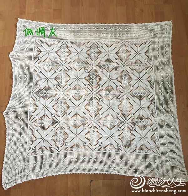 手工钩针编织方形拼花蕾丝桌布