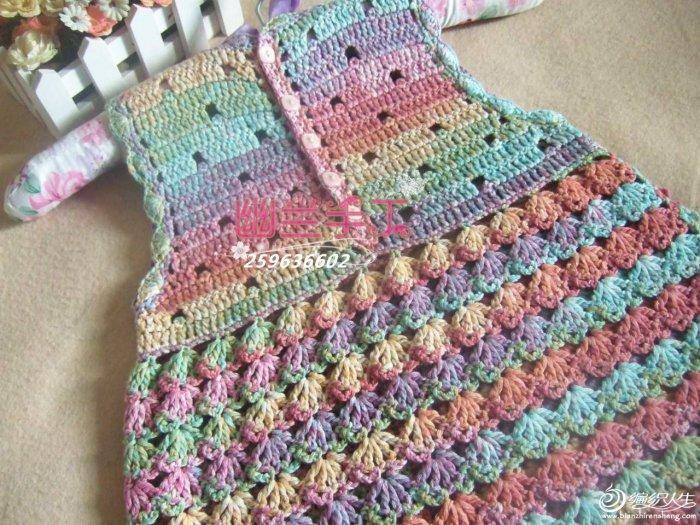 梦幻甜心 女童后开扣钩针甜美背心裙-编织教程-编织