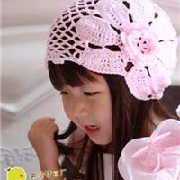 仿淘宝漂亮钩针女童渔网花朵帽