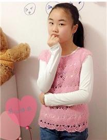 粉色小清新女童钩针无袖罩衫