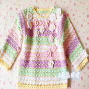 蔷薇 春日宝宝粉嫩钩针长袖套衫