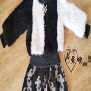 棒针儿童凤羽绒短装黑白配外套