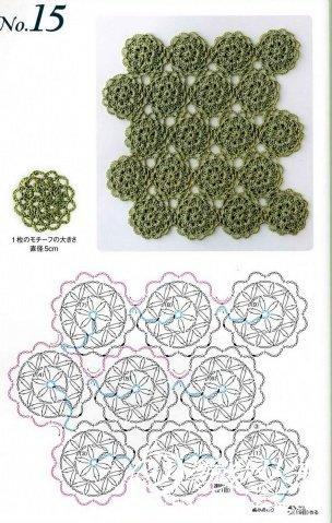 钩针拼花技巧 一线钩的花样和图解