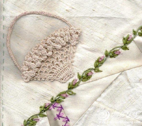 钩针与丝带绣演绎漂亮花篮