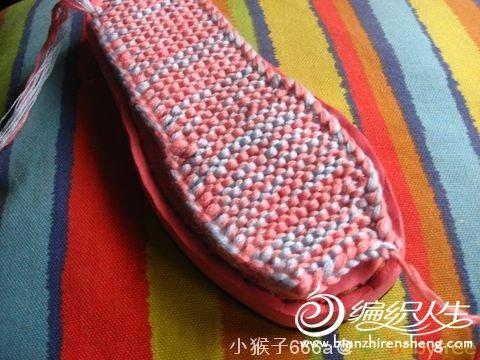 一款手工编织毛线拖鞋详细图解教程