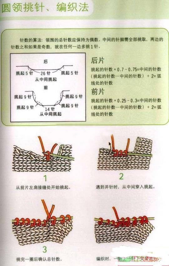 圆领毛衣领口的编织方法图解