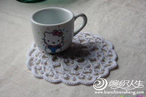 钩针编织圆形蕾丝雪花小杯垫