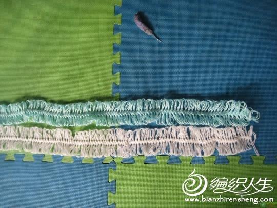 自制的U型钩编器钩织围巾过程