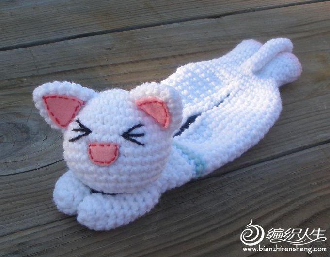 用钩针编织可爱小猫笔套的教程