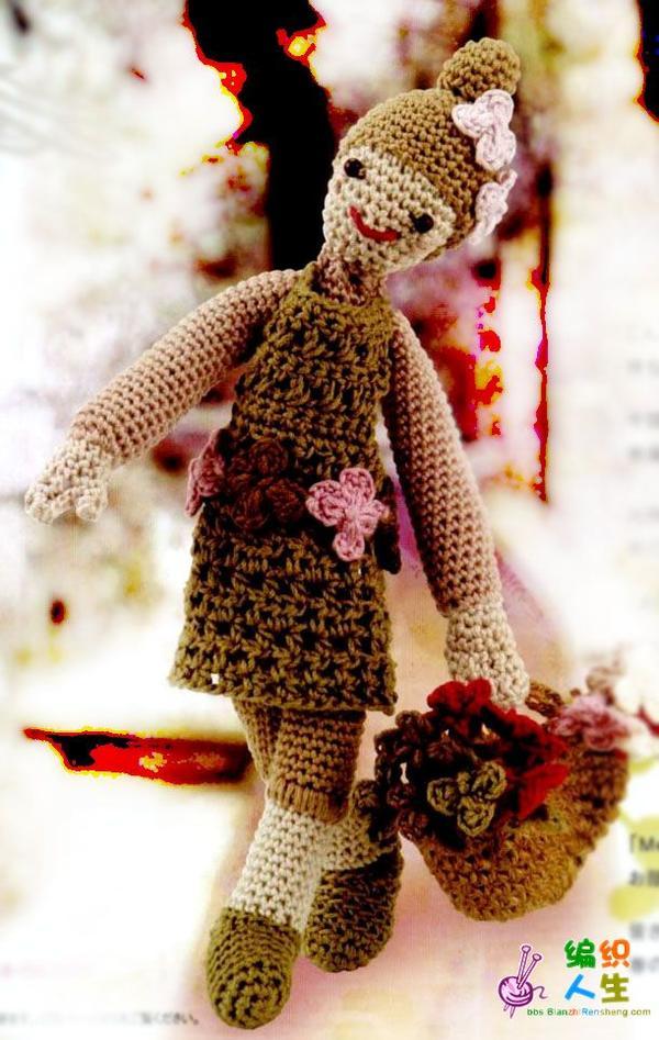 采花的小姑娘(玩偶编织)--有图解