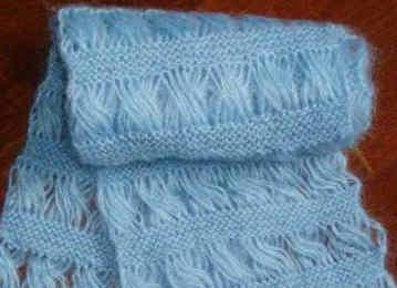 漂亮的波浪卷围巾编织过程