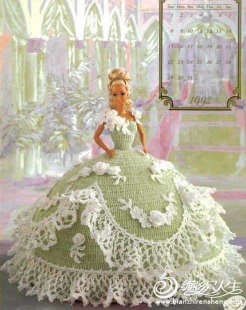 钩针编织漂亮的芭比娃娃礼服