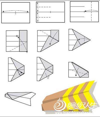 纸飞机折纸大全 图解飞机折纸折法3-多种纸飞机折纸方法图 编织人生图片