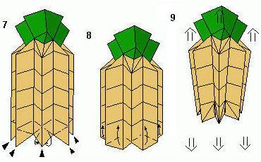 手工折纸菠萝的折法教程