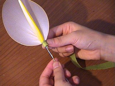 制作丝网马蹄莲花的详细图解