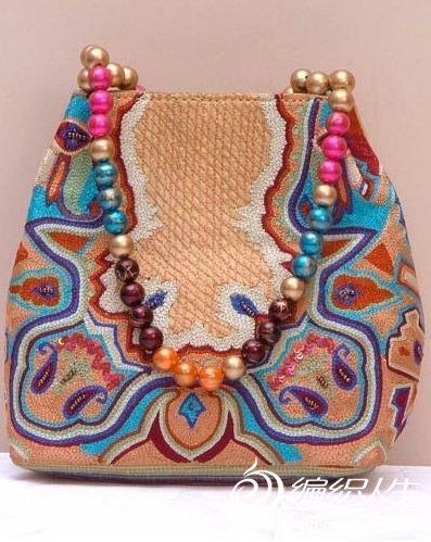时尚印度风串珠手工包图片