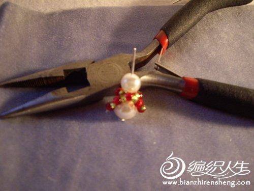 手工串珠制作  可爱的雪人耳环