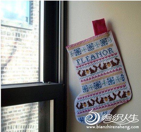 精致可爱的十字绣圣诞袜