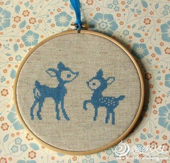 圣诞装饰梅花鹿装饰十字绣