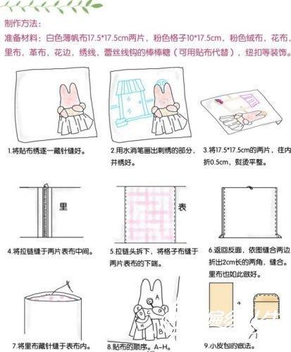 兔子糖果包包的手工制作过程