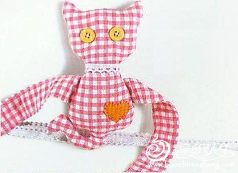 碎格子布妙用 布艺手工制作猫咪窗帘扣图解教程