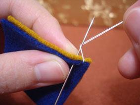 布艺手工小制作之布艺毛边缝针法教程